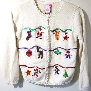 J. Khaki Christmas Sweater size M